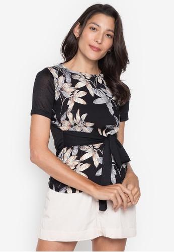 Seventh Cherie black Short Sleeve Printed Front Plain On Back & W/ Tie On Waist 8D30CAA683C8BBGS_1