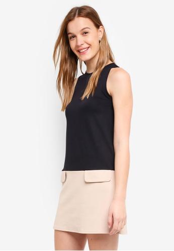 ZALORA BASICS black Color Block Shift Dress F2A2FAA4D49F61GS_1