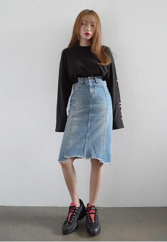 esprit hong kong韓風不對稱丹寧及膝短裙, 服飾, 裙子