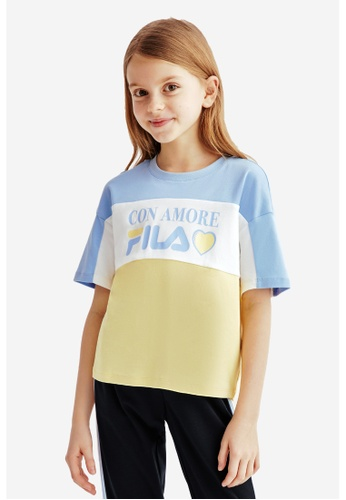 FILA blue FILA KIDS FILA CON AMORE Logo Color Blocks T-shirt 8-13yrs 4752CKAC8B7197GS_1