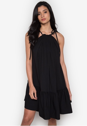 NEW ESSENTIALS black Rhett Eala Pleated Neck Halter Dress NE239AA0JD3TPH_1
