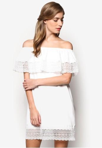 蕾絲荷葉層次露肩直筒連身裙, 服esprit台灣網頁飾, 洋裝