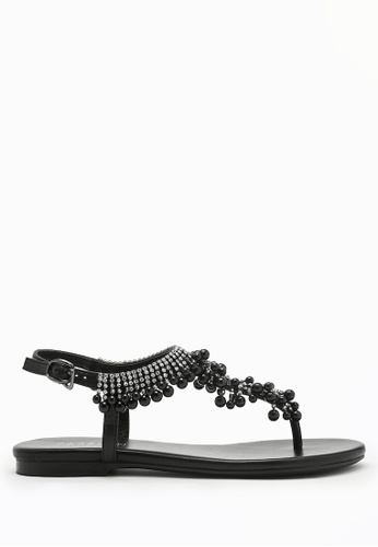 PAZZION black Embellished T-strap Sandals 3E891SH8622737GS_1