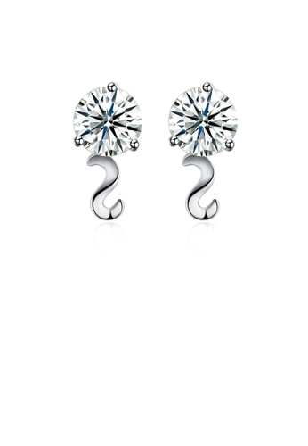 Glamorousky white 925 Sterling Silver Simple Elegant Exquisite Mini Wavy Line Earrings and Ear Studs with Cubic Zircon ED023AC6A450C2GS_1