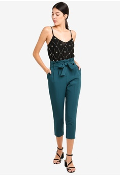 41ae653e455ff6 50% OFF Miss Selfridge Petite Teal Paperbag Trousers RM 219.00 NOW RM  109.50 Sizes 8