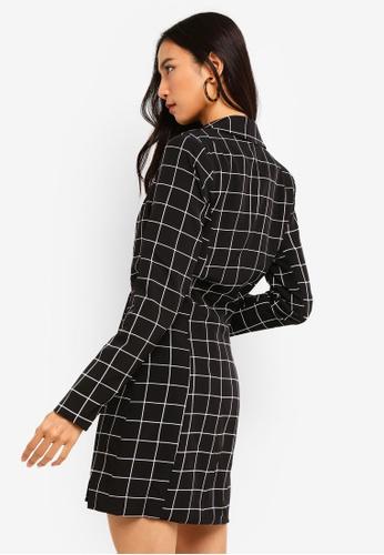 cf9d052a64 Shop MISSGUIDED Black Grid Tuxedo Blazer Dress Online on ZALORA Philippines