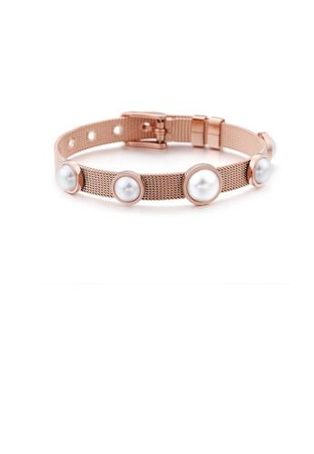 Glamorousky white Fashion and Elegant Plated Rose Gold Geometric Round Imitation Pearl 316L Stainless Steel Bracelet C0AE3ACE553B8DGS_1