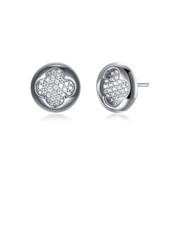 Glamorousky white 925 Sterling Silve Simple Elegant Noble Romantic Geometric Round Four Leaf Clover Earrings with Cubic Zircon 0DB17AC07518F5GS_1