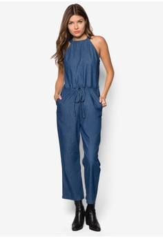 Cut-In Chambray Jumpsuit