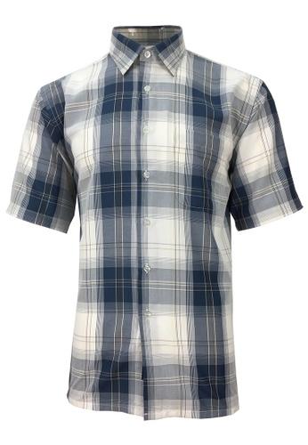 Pacolino blue Pacolino - Korea Polynosic Wrinkle Free Checker Formal Casual Short Sleeve Men Shirt A3E43AA6B547EBGS_1