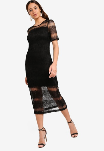 ZALORA black Bodycon Midi Lace Dress 6242BAAE099251GS_1