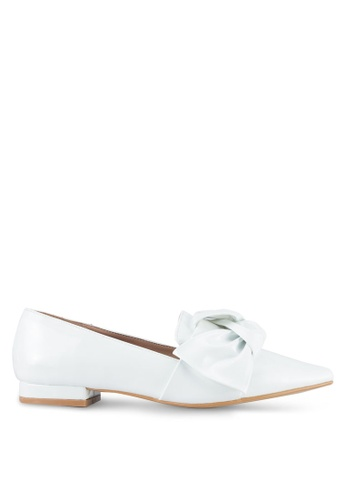 Something Borrowed white Patent Bow Pointed Flats 08769SH3BAA356GS_1
