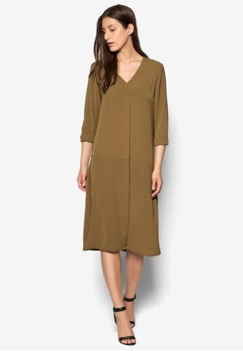 WAREHOUSE brown Dropped Waist Shirt Dress WA653AA02TQJMY_1