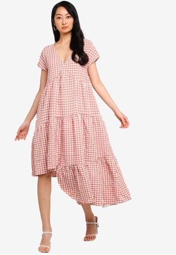 ZALORA BASICS pink V Neck Asymmetric Hem Dress FC1E9AA5E9A93DGS_1
