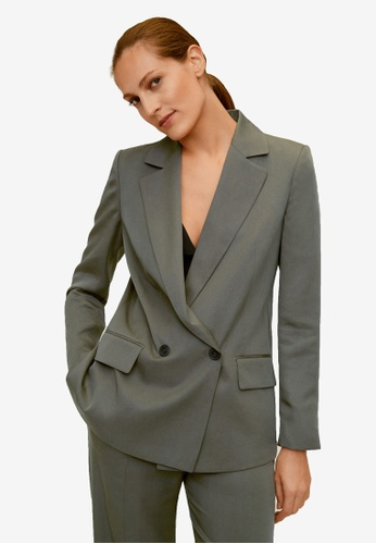Mango green Double Breasted Blazer 8F401AAC7CE634GS_1