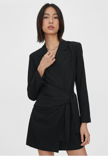 Pomelo black Ruched Side Wrap Romper - Black FB041AAC238091GS_1