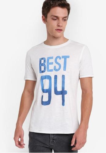 MANGO Man white Number Cotton-Blend T-Shirt MA449AA05HMGMY_1