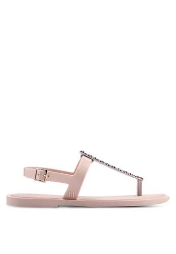 Melissa 粉紅色 鑽飾平底涼鞋 098F4SH89E41BDGS_1