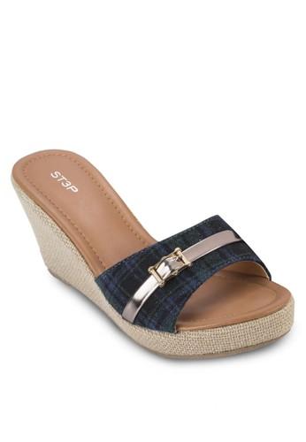 閃飾寬帶楔型esprit 價位涼鞋, 女鞋, 楔形涼鞋