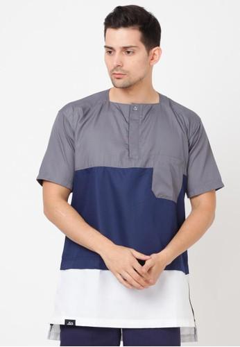 Haq Muslimwear white and blue and grey HAQ Hamzah Three Color Shirt 09782AACC210CFGS_1
