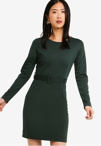 ZALORA BASICS green Basic Belted Boat Neck Dress A4142AACB33779GS_1
