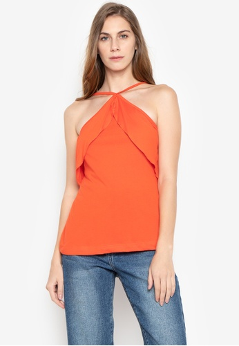 moondaze orange Kristine V-Strap Ruffle Halter Top 2830EAA22AF719GS_1