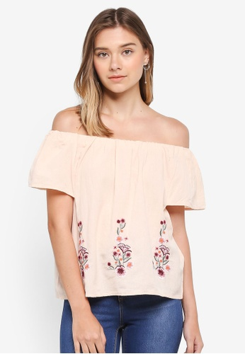 Dorothy Perkins pink Blush Embroidered Bardot Top B0DAEAAF4EA45CGS_1