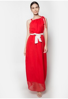 Drawstring Chiffon Gown Dress