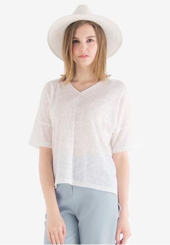 Kodz white V-neck Marbled Knit Basic Top KO698AA0SZV9MY_1