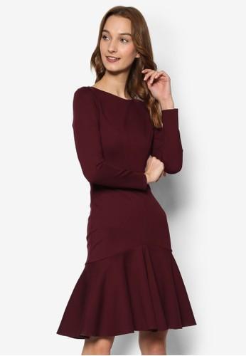 低腰荷葉裙擺長袖連身裙,esprit 台中 服飾, 洋裝
