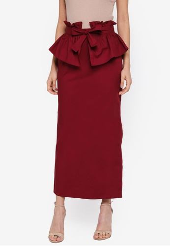 Lubna red Tiered Full Skirt EE190AA32D0611GS_1