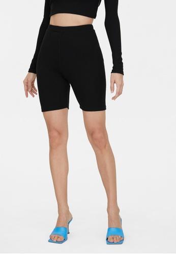 Pomelo black Ribbed Biker Shorts - Black BBDFDAAA0B4327GS_1