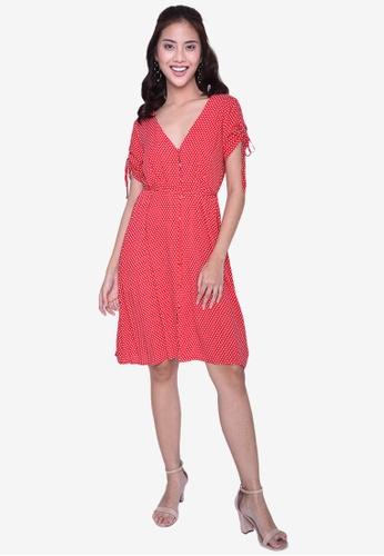 Caoros red Polka Dress 7DEF1AA4CB27AEGS_1