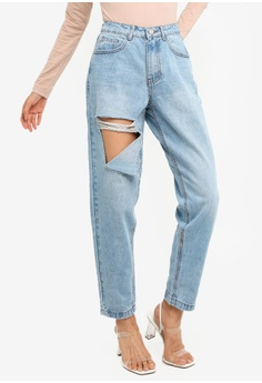 66e1d088a6fc MISSGUIDED blue Petite Riot High Waisted Mom Jeans 90C18AA8A2FCF2GS 1