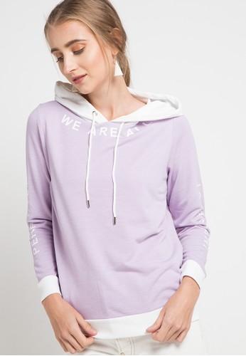 ULTRAVIOLET BY COME purple Colorblock Hoodie 2D8EBAA1394970GS_1