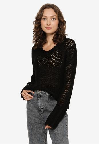JEANASIS black V-Neck Knit Pullover 9CF3FAAA235B67GS_1