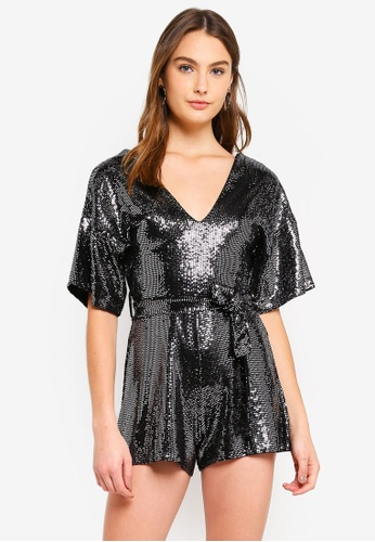 Miss Selfridge silver Silver Sequin Kimono Playsuit EBBBFAAA0AD671GS_1