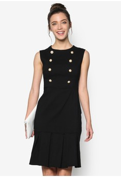 Brushed Cotton Dress with Bottom Pleats and Metallic Buttons