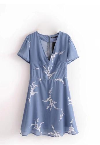 ddc6360f6365 Sunnydaysweety blue 2018 New Spring-Summer Light Blue Short Sleeves Print  Dress 07DE1AA39460F0GS 1