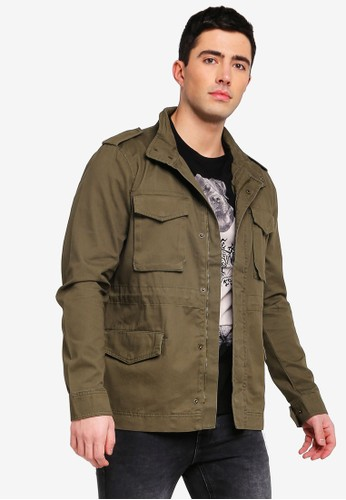 Only & Sons green Asker Basic Field Jacket C505AAAFE270E0GS_1