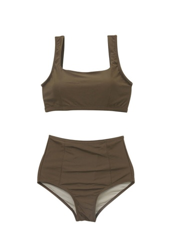 ZITIQUE brown Women's Simple Design Must-have Two-piece Swimsuit - Brown AAE33US7789C0CGS_1