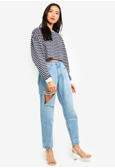 838bccdeefa 18% OFF MISSGUIDED Stripe Drop Shoulder Oversized Crop Top S  32.90 NOW S   26.90 Sizes 6 8 10 12 14