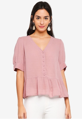 Vero Moda pink Ciao Button Up Top 2E372AAF1B21DFGS_1