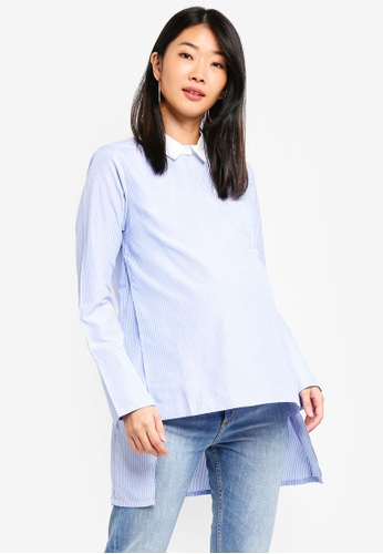 Spring Maternity blue Maternity Dawn Shirt Top EAB0FAA57E3600GS_1