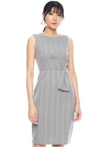 Nichii black Oxford Checkered Side Knot Dress C02A1AAC51D006GS_1