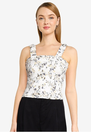 Abercrombie & Fitch white Smocked Wide Strap Cami Top 188E8AA6F3F81FGS_1
