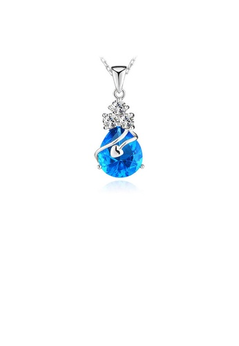 Glamorousky silver White Gold Plated 925 Sterling Silver Pendant with Blue Cubic Zirconia and 45cm Necklace CED71AC8DC7C9EGS_1