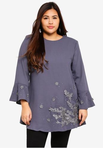 BYN grey Plus Size Muslimah Blouse 497B8AADB8AE4BGS_1