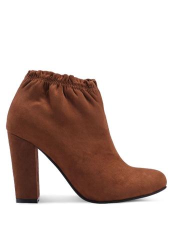 ZALORA 褐色 縮口麂皮粗跟踝靴 68698SH7CF97E1GS_1