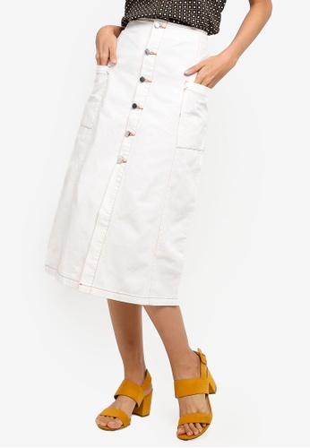 ZALORA beige Pocket Button Down Midi Skirt DB6FEAA9E32F05GS_1